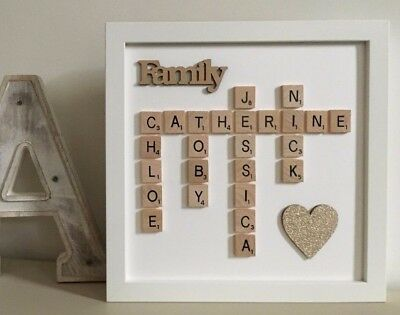 (f) Plastic/Wood Scrabble Art Picture Frame Personalised Word/Heart - 30 Colours