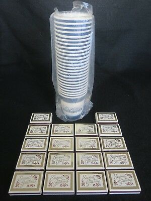 Lot 18 Boxes Vtg Piedmont Airlines Wood Christmas Matches + 25 First Class Cups