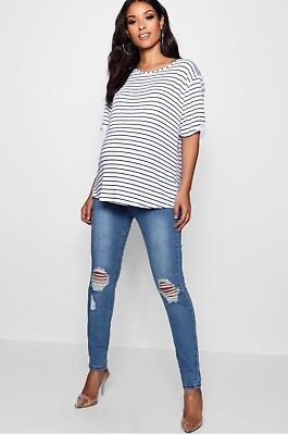 Boohoo Maternity Rip Distressed Knee Skinny Over The Bump Jean Size 8
