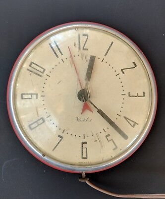 Vtg WESTCLOX Retro Red Wall Metal Kitchen Clock Electric -Not Working-For Parts