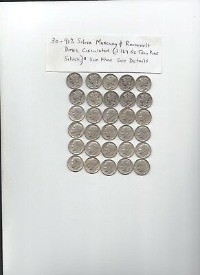 Lot Of 30 90% Mercury/Roosevelt Dimes 1940's & 1964 2.169 OZ.Troy Silver*