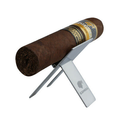 COHIBA Silver Finish Stainless Steel Foldable Cigar Stand Ashtray Holder