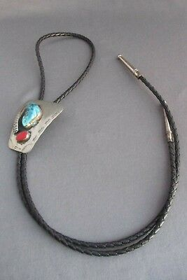 Vintage Old Pawn Lma Nickle Silver Chunky Turquoise Coral Men's Bolo Tie