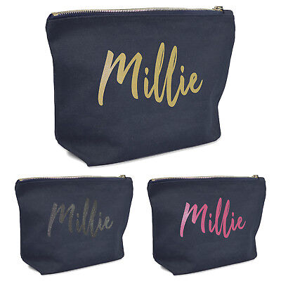 Personalised Name Initial Navy Blue Make Up Wash Bag Handwriting Glitter Gift