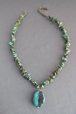 Vintage Old Pawn Chunky Nugget Turquoise Adjustable Choker Necklace
