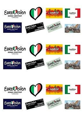 24 StandUp Eurovision Song Contest 2019 Edible Premium Wafer Paper Cake Toppers