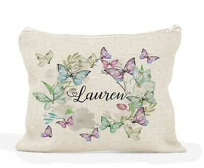 Personalised Large Make Up Bag, Wash Bag/ Bridesmaid/Friend Birthday/Butterfly