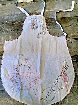 Vintage Apron Embrodiered Chinese Lanterns & Flapper