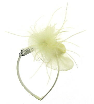 Ivory cream  fascinator with floaty feathers on a headband, weddings, races