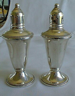 2 Vintage Raimond Sterling Silver Weighted Salt Pepper Shakers Glass Liners