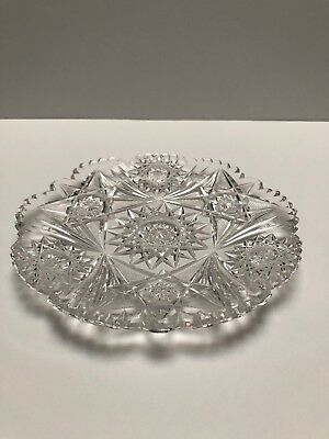 Baccarat Heavily Cut Clear  Hor D'oeuvres Or Dessert Plate  1 Only