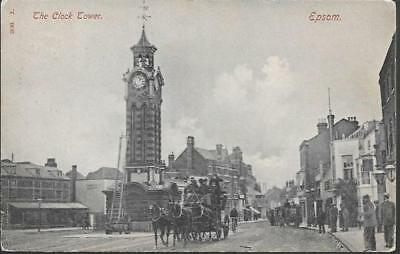 Epsom, Surrey - Clock Tower, carriage - Hartmann postcard, local 1908 pmk