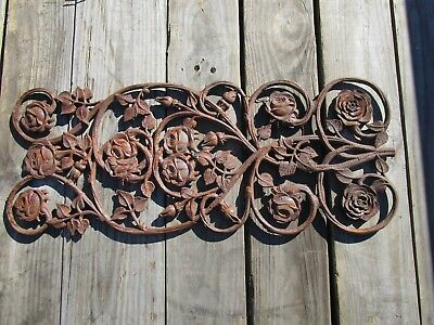 """Antique Architectural Garden Cast Iron Floral Decorated Fence Grate SALVAGE 28"""""""