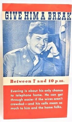 Vtg US Military GI Leaflet Pacific Telephone Telegraph Co GIVE HIM A BREAK Paper