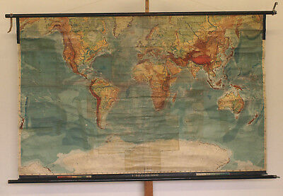 Wall Map Physical World Map Earth Germany~1915 Produced 205x132 Vintage