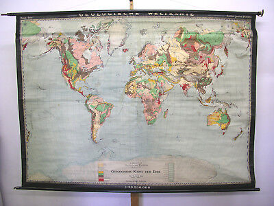 Wall Map Geological World Map 212x154cm ~ 1935 Vintage Justus Perthes Gotha
