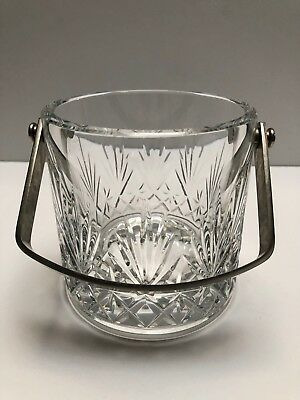 """Saint Louis Hand Carved Clear Ice Bucket """"Florence"""" Pattern Stainless Handle"""