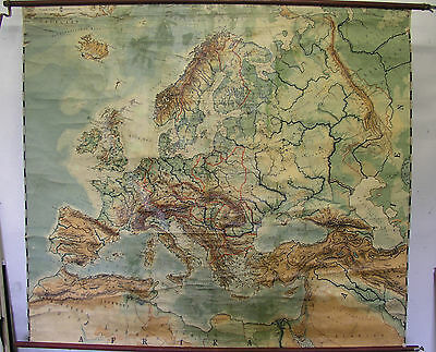 Schulwandkarte Europa ~ 1919 182x160 Vintage Physical School Map after WW1