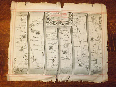 Huntingdon-Ipswich  John Ogilby road map late 1600s with wear