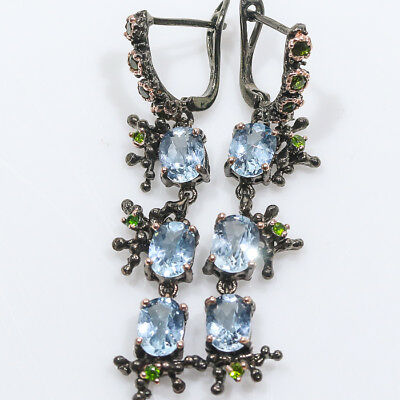 Jewelry unique SET Natural Blue Topaz 925 Sterling Silver Earrings/E00951
