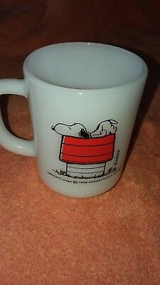 1958 Snoopy Anchor Hocking Fire King Allergic to Morning Mug