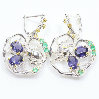 Jewelry unique SET Natural Iolite 925 Sterling Silver Earrings/E00960