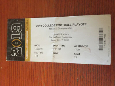 Good Cond 2019 NATIONAL CHAMPIONSHIP Ticket Stub Clemson PERFECT SSN Seat 12 28