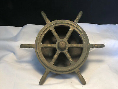 Old Vtg Collectible Brass Helm Ship Wheel Ashtray Paperweight Nautical Decor