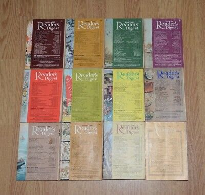 Vintage UK Readers Digest Magazines x12. January to December 1966