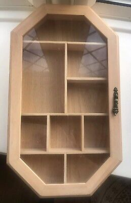 WOODEN TRINKET DISPLAY CABINET ~ Wall Mounted ~ Glass Door  Panel ~ 9 Sections