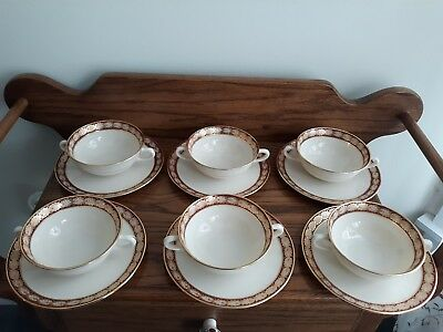 6 Lenox Pembrook Double Handle Soup Cup & Saucer Sets USA 0-300-R