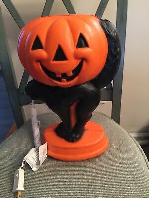 "L407 General Foam Plastic Halloween Blow Mold Lighted Pumpkin 14"" Tall NEW"