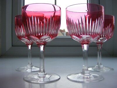 Set of Four Victorian Cranberry Cut to Clear Bowl & Clear Stem Wine Glasses