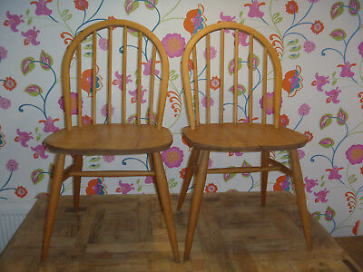 2 x Ercol 1960's Blonde Windsor Dining Chairs Good Vintage Condition