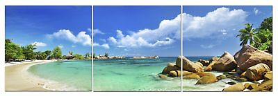 Panoramic Beach Canvas Wall Art Decor - 24x24 3 Piece Set (Total 24x72 inch)