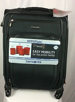 SAMSONITE HYPERSPIN 21-INCH Wheeled Carry-On Luggage Bag Black Expandable  New