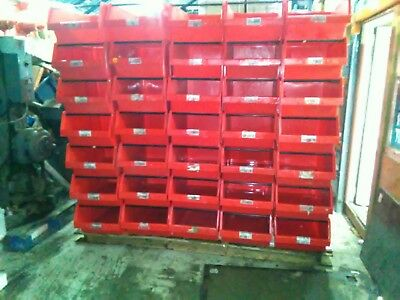 1 x PALLET (70) USED ALLIBERT RED PLASTIC PARTS STORAGE BINS 730 X 445 X 305 MM
