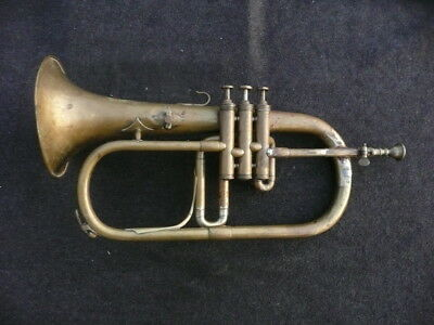 RARE OLD INTERESTING FRENCH Bb FLUGELHORN - MADE AROUND 1930? - GREAT PLAYER!