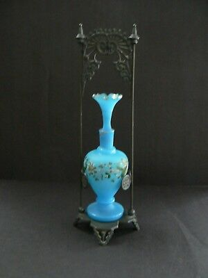 1880s Blown Glass Cologne Bottle In Cast Iron Stand