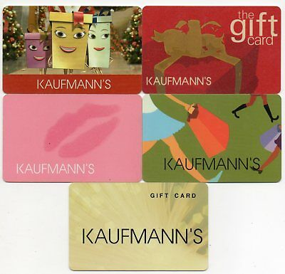 Kaufmann's Pittsburgh Department Store No $ Value Collectible 5 gift card lot