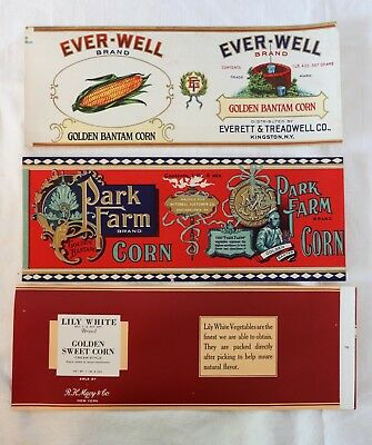 Lot of 3 Antique Canned Corn Food Labels Everett Treadwell Mitchell Fletcher
