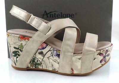 825ffcd7c7e Womens Shoes Antelope 817 Floral Wedge Sandals Gold Metallic Size 8   EU 38