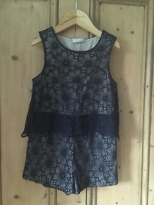 Girls Navy Floral Netted Playsuit Age 6 Years Matalan
