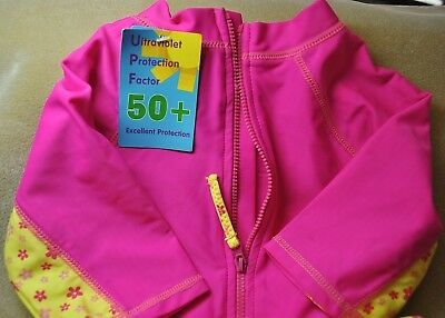 Girls Size 3T ~ One Piece Back Zip~ UV 50 Romper Swimsuit   Pink/Yellow ~ NWT