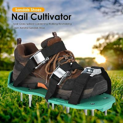 1pair Grass Spiked Garden Revitalizing Lawn Aerator Sandal Shoes Nail Cultivator