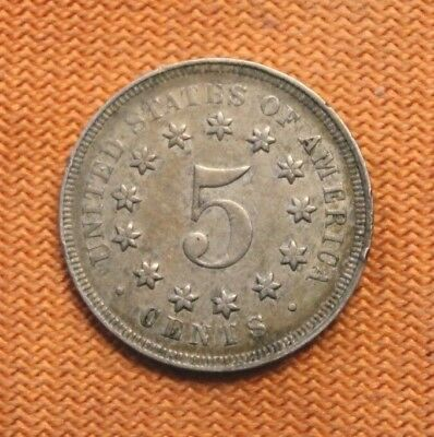 1867 5c no rays Shield Nickel, rare old type coin money