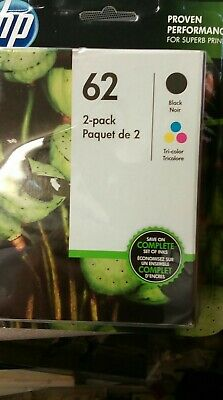 Geninue NEW SEALED HP 62 Black/Tri-Color Ink Cartridges Combo 2-pack EXp 2020