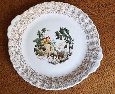American Limoges 'chateau France'  22 K Gold Filagree Handled Round Cake Plate