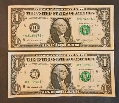 """Lot of 2/2013 """"H"""" series $1 *STAR* replacement notes/Rare/Very Nice condition!"""