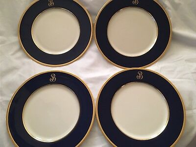 Lenox China Cobalt Blue Gold Encrusted Dinner Plates W/ Letter Initial Gold B